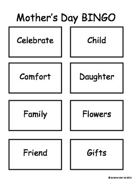Mother's Day 3 by 3 BINGO!