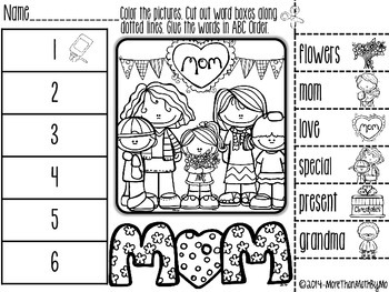 Mother's Day ABC Order Cut and Paste Printable---FREEBIE