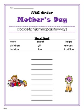 Mothers Day ABC Order - primary