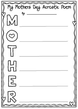 Mother's day flowered acrostic poem by literacy spark | tpt.