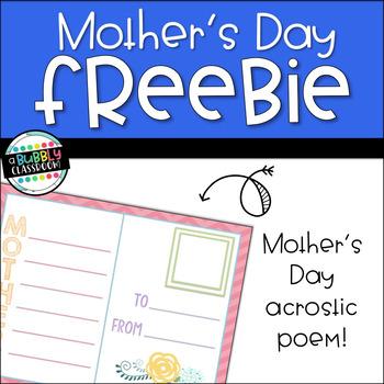 Mother's Day Acrostic Poem {FREEBIE}
