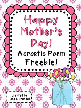 Mother's Day Acrostic Poem & Worksheets | Teachers Pay Teachers