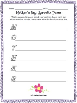 Mother's Day Acrostic Poem {Poetry}
