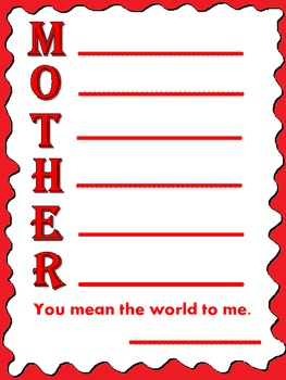 Mother's Day Acrostic Poem Sheet