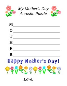 Mother's Day Acrostic Puzzle