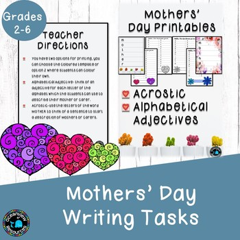 Mothers Day Acrostic or Alphabet Adjective Writing sheets