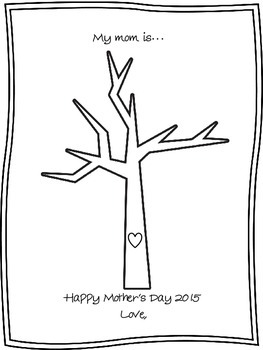 Mother's Day Adjective Thumbprint Tree Freebie!