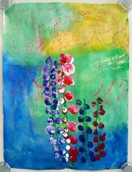 Elementary Art Lesson: Kindergarten Lupine Painting