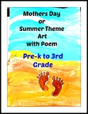 Mothers Day Art Lesson Beach Pre-K to 3rd Grade ELA Lesson Poem Summer