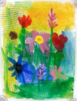 Elementary Art Lesson: Variety Flowers Painting