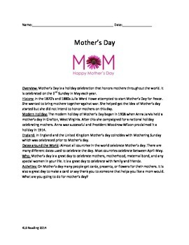 Mothers Day Article Review Questions History Facts Vocab word search activities