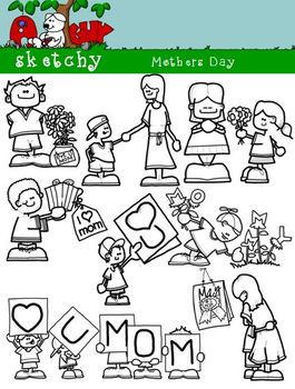 Mother's Day Assorted Color / Grayscale / Black Lined Fun Clipart