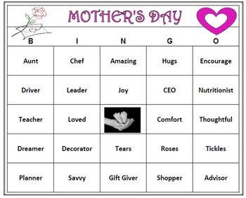 Mother's Day Bingo Game- 60 Cards Printable