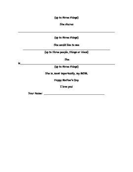 Mother's Day Bio Poem Outline