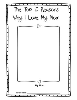 Mother's Day Booklet- The Top 10 Reasons I Love My Mom