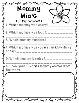 Mother's Day Books Comprehension Questions