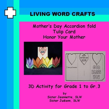 Mother's Day Card  Accordion Folded Tulips 3D for Gr. 1-3