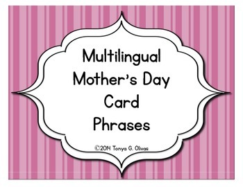 Mother's Day Card Decor--Multilingual