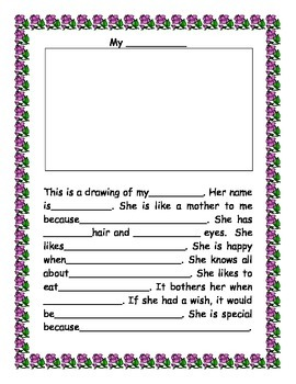 Mother's Day Card Elementary Template - Bilingual Spanish and English