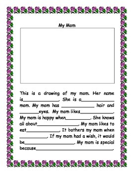 Mother\'s Day Card Elementary Template - Bilingual Spanish and English