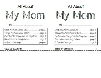 """Mother's Day Card - """"All About My Mom"""" Flip Book Craftivity"""