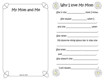"""Mother's Day Card Insert   (8.5"""" x 11"""")"""