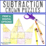 SUBTRACTION Crown Puzzles   Use to make Mother's Day Gifts for Mom