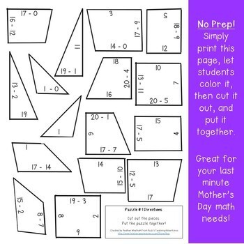 SUBTRACTION Crown Puzzles | Use to make Mother's Day Gifts for Mom