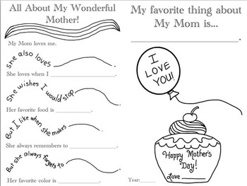 Mother's Day Card with Writing Prompts