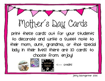 Mother's Day Cards (10 Cards)
