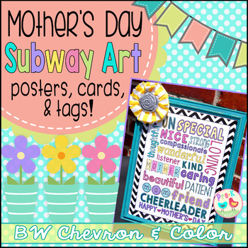 Mother's Day Card - Black and White Chevron Color Subway Art