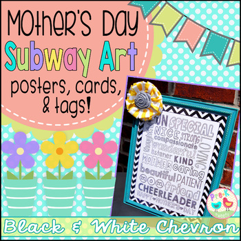 Mother's Day Card - Black and White Chevron Subway Art