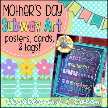 Mother's Day Card - Chalkboard Color Subway Art