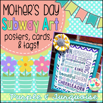 Mother's Day Card - Purple and Turquoise Subway Art