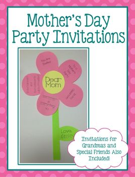 mother 39 s day celebration invitations flower shaped by kendra 39 s kindergarten. Black Bedroom Furniture Sets. Home Design Ideas
