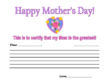 Mother's Day Certificate Incorporating Letter Writing!