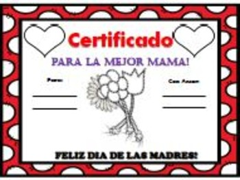 """Mother's Day Certificate & Writing Activities """"Completely BILINGUAL"""""""