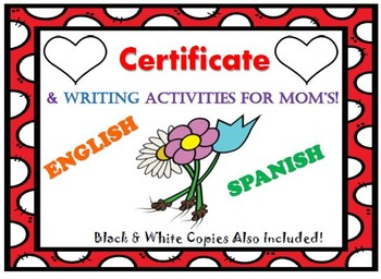 """Mother's Day Certificate & Writing Activities """"Completely"""