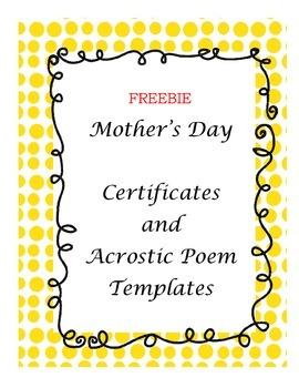 FREEBIE Mother's Day Certificates and Acrostic Poem Templates