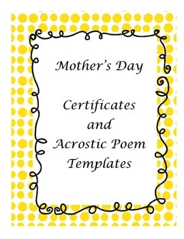 Mother's Day Certificates and Acrostic Poem Templates