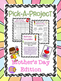 Mother's Day Writing Pick A Project Choice Menu, Activities, and Templates
