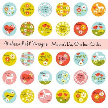Mother's Day One Inch Circles Clipart