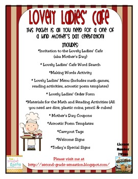 Mother's Day Class Activity: Invite Mothers to the Lovely Ladies Cafe`