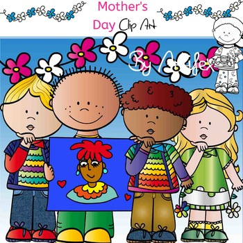 Mother's  Day Clip Art-Color and B&W