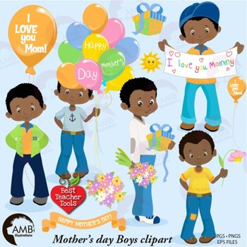 Mothers Day Clipart, Boy Clipart, African American {Best Teacher Tools} AMB-1920