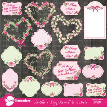 Mothers Day Clipart, Hearts clipart, Roses, Frames Clip Art, AMB-866