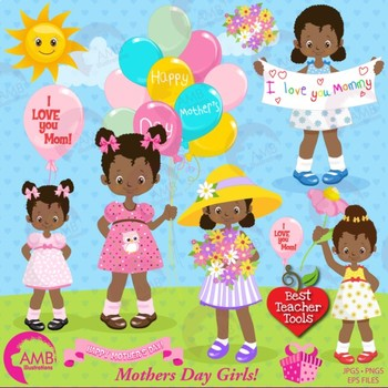 Mothers Day Clipart, African American Girls {Best Teacher Tools) AMB-1802