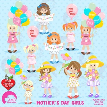 Mothers Day Clipart, Girls Clipart, {Best Teacher Tools} AMB-1277