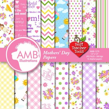 Mothers Day Clipart and Papers Bundle, {Best Teacher Tools} AMB-1724