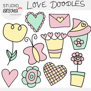 Love Doodles Clipart, Mother's Day, Valentine's Day